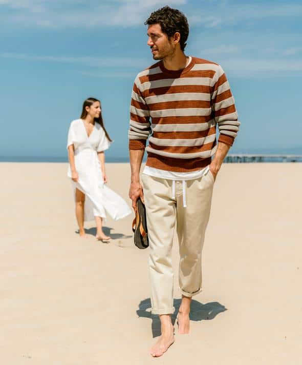 Outerknown Waterless Stripe Sweater Sepia