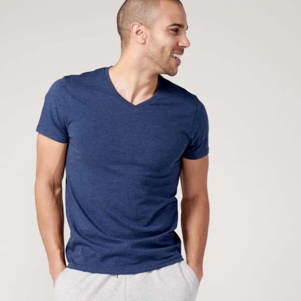 Pact Organic V Neck Tee in Blue