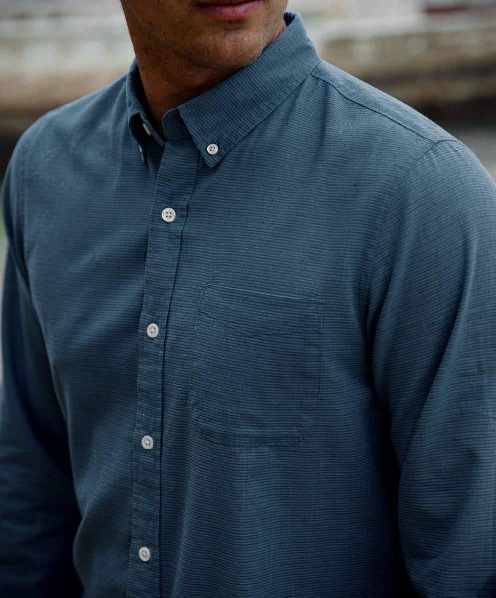 Outerknown's Essential Shirt in Blue