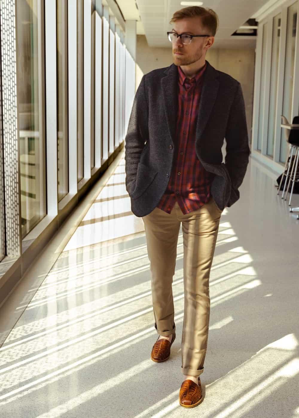 Eco-Stylist founder Garik in Huarache Sandals by Nisolo