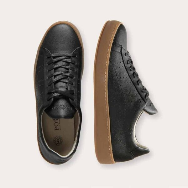 9) Po-Zu Black Apple Leather Vegan Sneakers