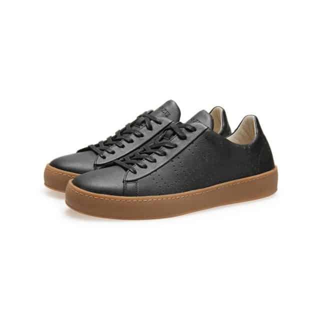 Po-Zu Men's Black Vegan Apple Leather Sneakers