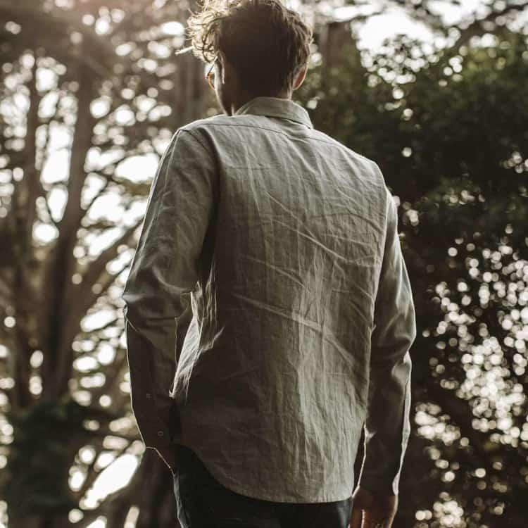 Taylor Stitch Olive Hemp Shirt Back View