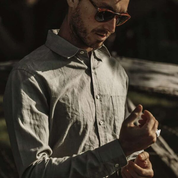 The California Shirt in Olive Hemp by Taylor Stitch