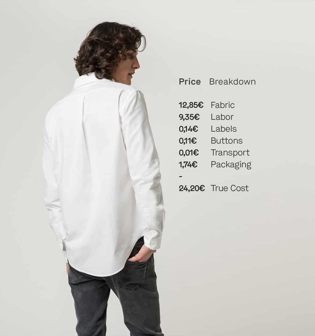ISTO Oxford Shirt in White Back