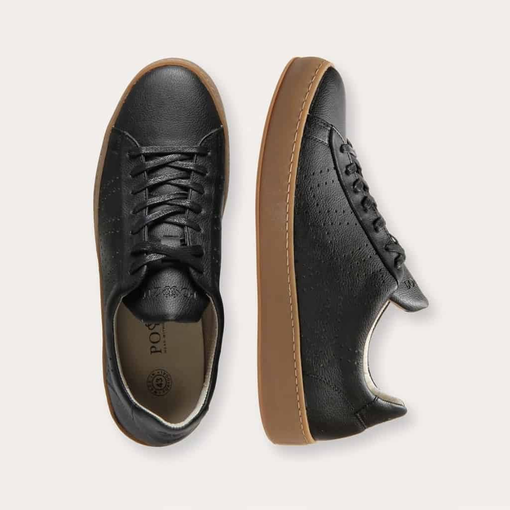 Po-Zu Black Vegan Apple Leather Sneakers