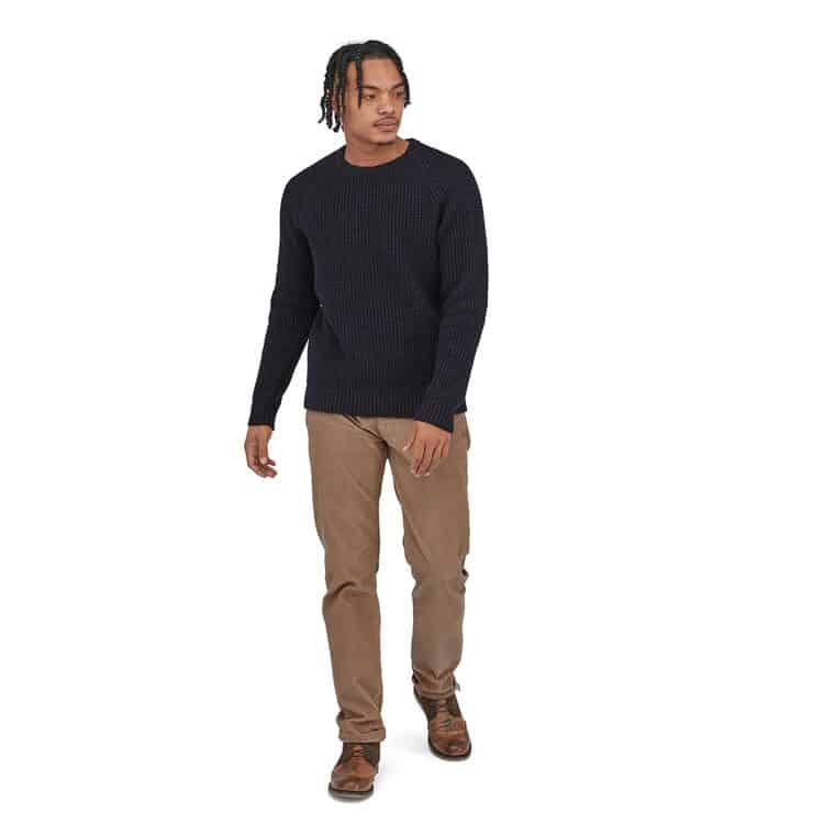 Recycled Wool Waffle Knit Sweater by Patagonia Navy