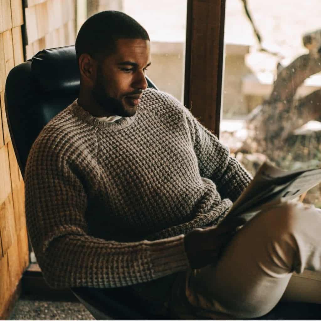 Taylor Stitch Fisherman Sweater Natural Waffle