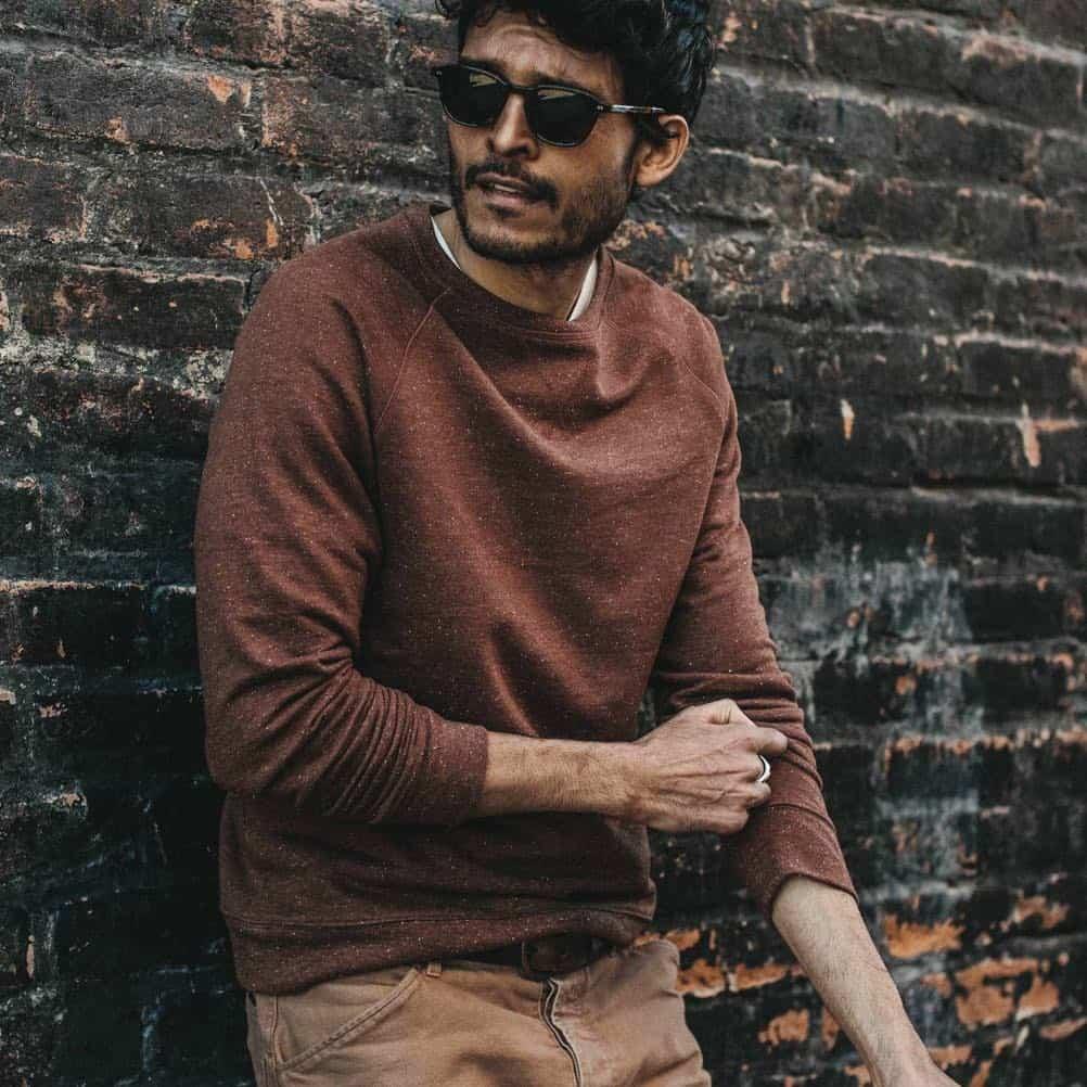 Taylor Stitch Mens Crewneck Sweatshirt Rust
