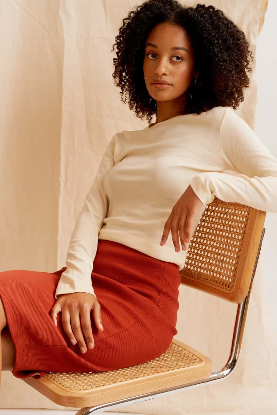 Womens Ribbed Pencil Skirt by Kotn