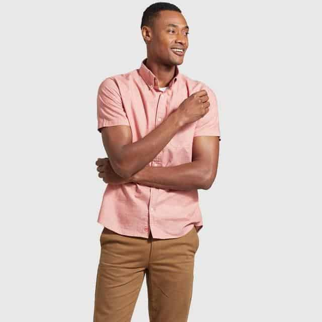 Natural Short Sleeve Button Down United by Blue Salmon