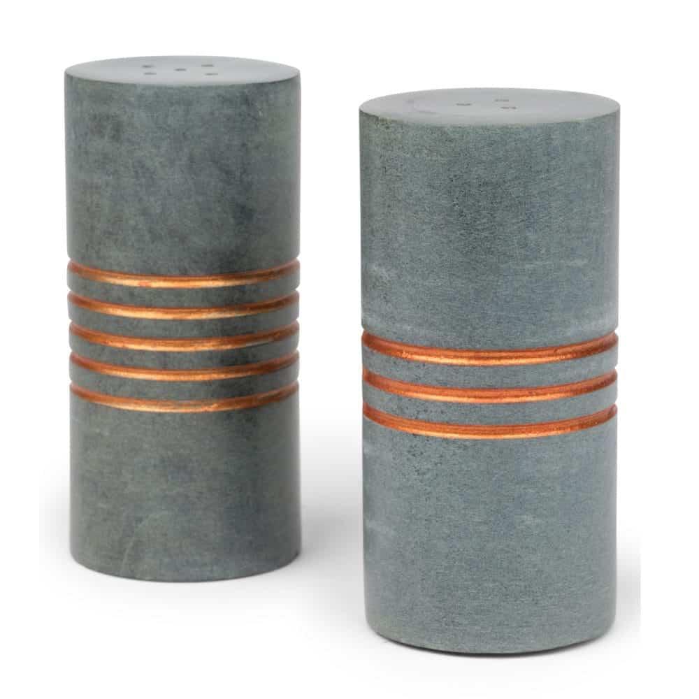 Carved Stone Cylinder Salt And Pepper Set - Salt & Pepper Stone Shakers