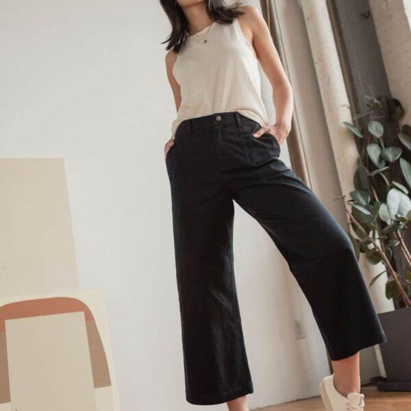 Organic Twill Wide Leg Pant