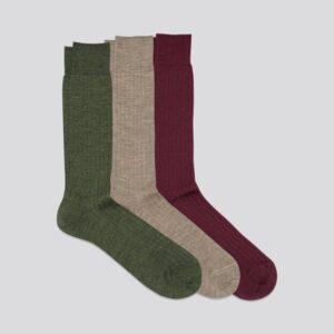 The Merino Sock 3-Pack Light Brown/Dark Green/Burgundy