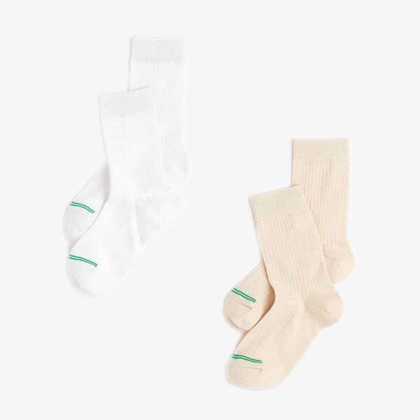 Women's White/Cream Crew Socks 2-Pack 1S