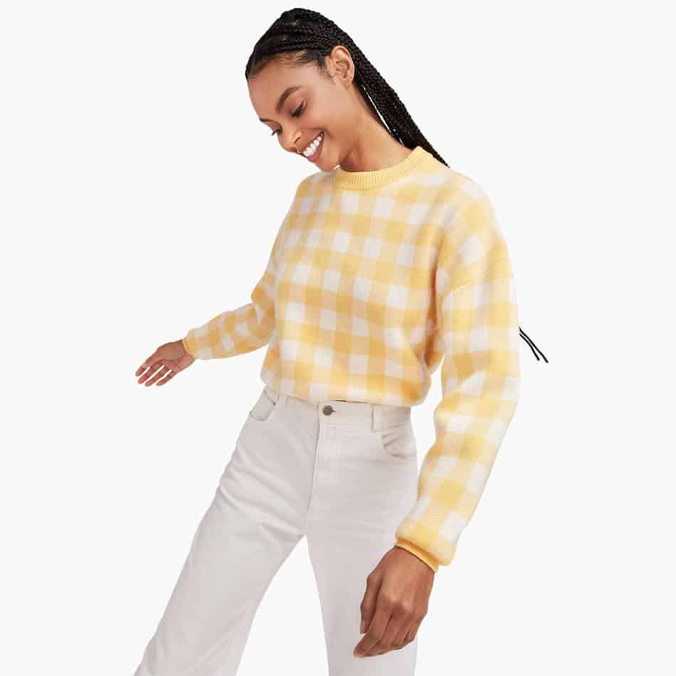 Naadam Gingham Cashmere sweater