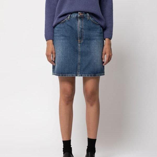 Nudie Jeans Hanna Skirt Blue Freckles Denim Skirts Large