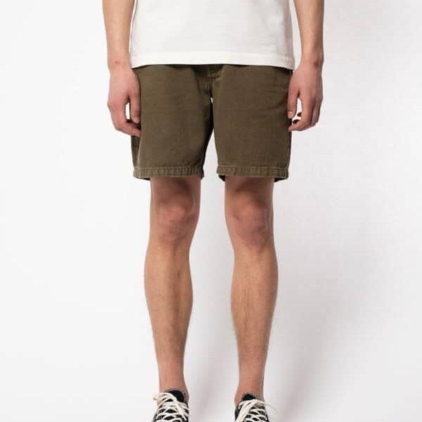 Nudie Jeans Luke Worker Shorts Rigid Twill Army Twill Shorts W34