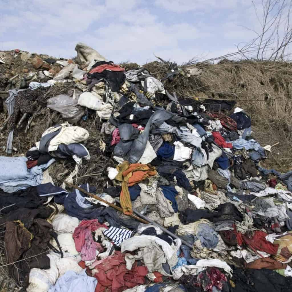 Piles of clothing waste