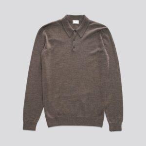 The Merino Wool Polo Brown Melange