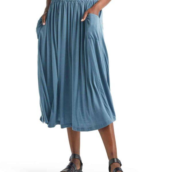 Icebreaker Women's Cool Lite™ Merino Long Skirt | Granite Blue | Merino Wool/Nylon/Tencel