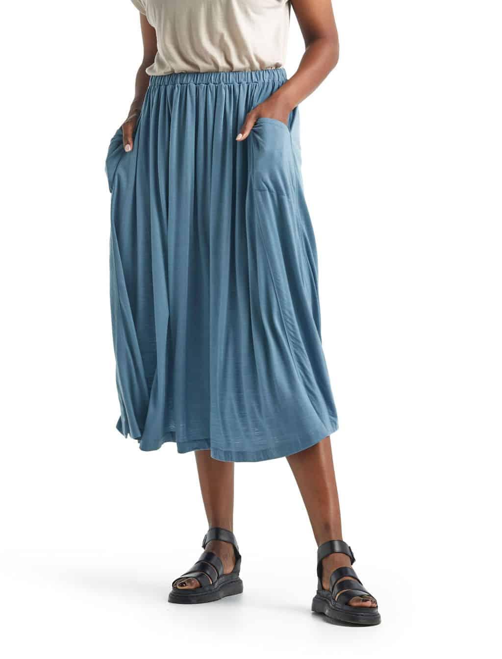 Icebreaker Women's Cool Lite™ Merino Long Skirt   Granite Blue   Merino Wool/Nylon/Tencel