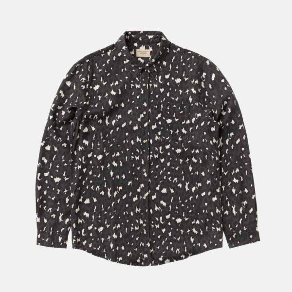 Nudie Jeans Chuck Black Leopard Multi Shirts X Large