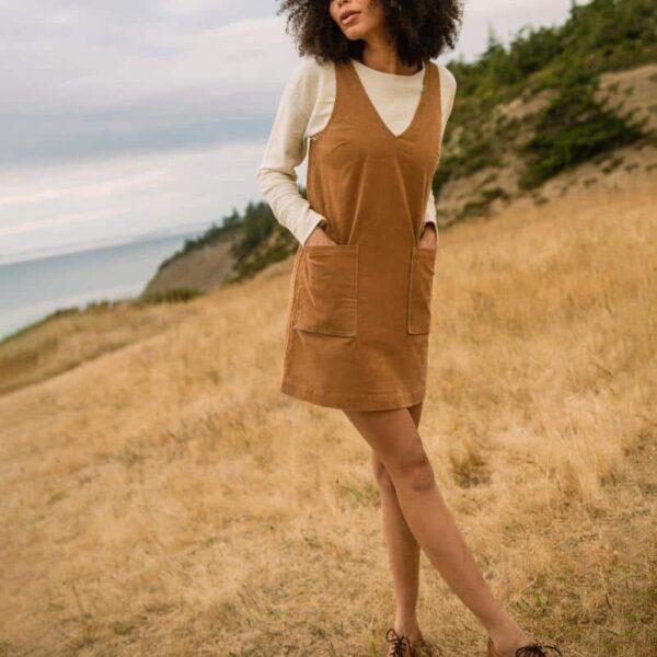 Organic Corduroy V-Neck Mini Dress