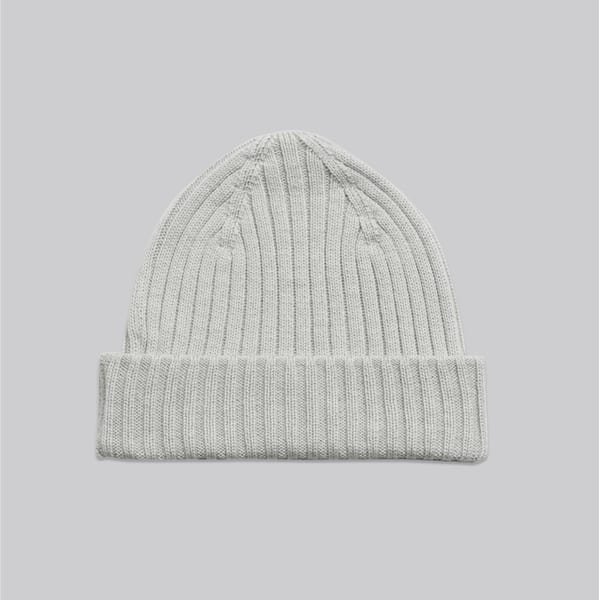 The Ribbed Wool Beanie Light Grey